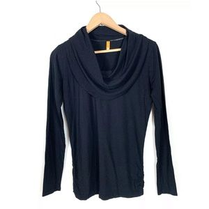 Lucy Athletic Top Cowl Neck Black Size Small